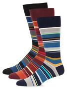Rare Nwt/gift Box Paul Smith Striped 3-pack Socks Made In Italy. Yours For