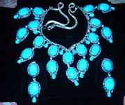 925 Silver Rose Cut Diamond Turquoise Necklace Vintage Victorian Look Jewelry