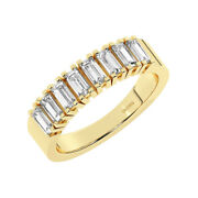 1 Ct Baguettes Diamond Studded With Claw Set Half Eternity Ring 18k Yellow Gold