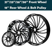 21/23/26and039and039/30and039and039 Front 18and039and039 Rear Wheel Hub Rim Fit For Harley Touring 08-21