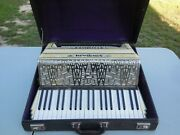 Nice Vintage Soprani Castello Mother Of Pearl And Chrome Accordion With Case