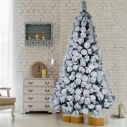 Artificial Christmas Tree White Snow Covered Xmas Decorations Decor With Stand