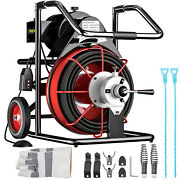 50ft X 1/2 Electric Drain Auger Drain Cleaner Machine 370w Snake 8 Cutters