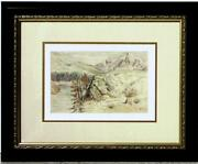 Original Antique Samuel Colman Na Watercolor A View Of The Mountains Of Banff