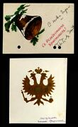 Mail-art Merry Christmas Two Greetings Postcards Russian Emigration [ah902]