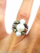 John Hardy Retired 3 Pearl Ring In 18kt Gold And Sterling Silver Sz 6 10.77 Gr