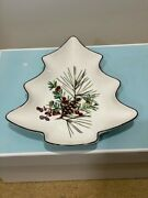 Lenox Etchings Christmas Tree Candy Dish 7 3/4 X 7 Pine Cones And Berries