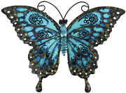 Liffy Metal Butterfly Wall Decor Outdoor Fence Art Hanging Glass Decorations For