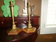Vintage Ethan Allen Brass And Wood Pair Of Candlesticks Made In Italy Beautiful