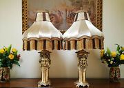 Antique King And Queen Lamps - Exquisite Pair