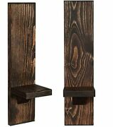 Wall Sconce Candle Holders, Wooden Wall Mounted Hanging Shelves - Set Of 2