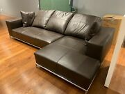 Leather Sofa 2 Pieces Used Brown Excellent Condition