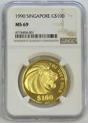 1990 Gold Singapore 1 Oz 100 Lion Coin Ngc Mint State 69