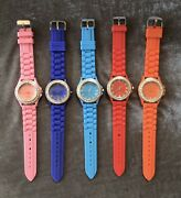 Lot Of Colorful Jeweled Bezel Watches With Silicone Bands Abc