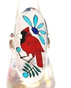 Zuni Inlay Cardinal Size 7.5 Ring Signed By Quentin Quam Sr. Sterling Silver