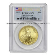 2011 50 Eagle Pcgs Ms70 First Strike American Gold Bullion 1 Oz Coin Flag Label