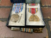 Wwii Us Service World War Medal Ribbon Pin Set American Campaign Lot