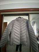 Concrete Grey Down Packable Padded Jacket Xl Concealed Hood Bnwt