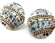 John Hardy Iolite Blue Topaz 18kt Gold And Sterling Silver Circle Earrings Nice