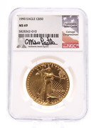 1990 50 Ngc Ms69 Gold American Eagle - 1 Oz Signed By Mike Castle