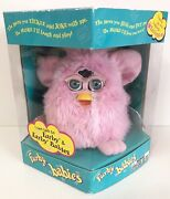 Rare 1998 Tiger Electronics Furby Baby Crystal Pink W Blue Eyes Open Box-works