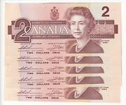 Mogi9 Canada Bc-55b Cunc Paper Money Note 1986 Two 2 Suite Of 5 Low Series No.