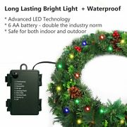 Christmas Wreath With Led String Lights Door Wreath Battery Indoor And Outdoor 24i