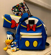 Rare Disney Loungefly Donald Duck Backpack Purse And Matching Wallet And Pencil Bag