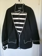 Tripp Nyc Coat Black And White Striped Size Large