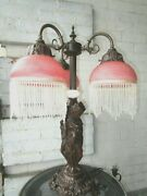 Ornate Victorian Style Lamp Nymphs With 3 Glass Beaded Shades Beautiful Vgc