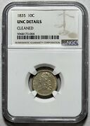 1835 Capped Bust 10c Silver Dime Ngc Unc Details Cleaned