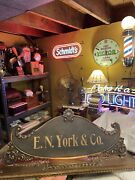 Antique Brass National Cash Register Top Sign E N York And Co Bronze Oxidized Ncr