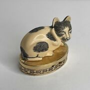 Vintage Estee Lauder Cinnabar Solid Perfume Compact Contented Cat Pill Box