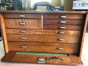 Vintage Oak Machinist 8 Drawer Tool Box Loaded With Tools