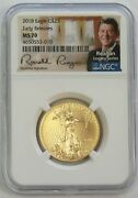 2018 Gold 25 American Eagle 1/2 Oz Coin Reagan Signed Legacy Ngc Ms 70 Er