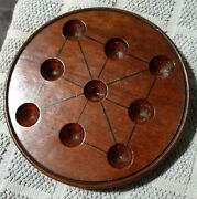 5 And 3/16 Rare Small Antique Carved Wooden Solitaire Board Game Display Marbles
