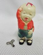 Vintage Celluloid Ck / Kuramochi Wind-up Toy - Crying Boy Made In Japan Works
