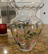 Crystal Clear Vase Hand Painted Art Glass Floral Gold-tone Details From Romania