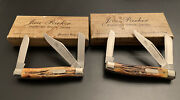 🔥 1978 Schrade Parker Frost Stag Handle Stockman Set Ky And Tn Matching Knives