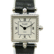 And Vintage Watch 18k White Gold Leather Strap White