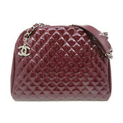 Red Just Mademoiselle Bowling Shoulder Bag Quilted Patent Leather