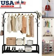 Garment Rack Free-standing Clothes Organizer With Top Rod+lower Storage+6 Hooks