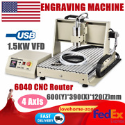 3d Usb 4 Axis 6040 Cnc Router Engraver 1.5kw Vfd Pcb Milling Driiling Machine Us