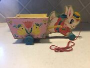 Vintage Fisher Price Easter Bunny Wood Pull Toy Cart