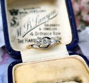 Vintage 9ct Gold And Platinum Old Mine Cut Diamond Trilogy Engagement Ring 0.43cts