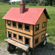 Antique Large Primitive Folk Art Wooden Doll House W/ Lift Up Roof And Wiring