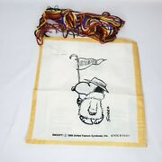 Vintage Snoopy Needlepoint Kit Crewel State Pennant Flag Started Unfinished 1958