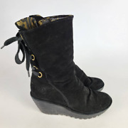 Fly London Womens Yada Boots Black Zip Mid Calf Wedge Heels Lace Up 7.5-8 Eur 38