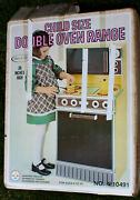Vintage Sears Metal Yellow Kitchen Play Stove Double Oven Range Wolverine C1970s