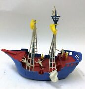 1950s Ideal Toys 13 Jolly Roger Pirate Ship Playset W Action Figures 3974